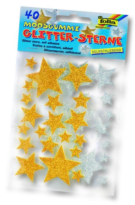 3D глитер стикери звезди - изработени от MOOSGUMMI - 40 бр.