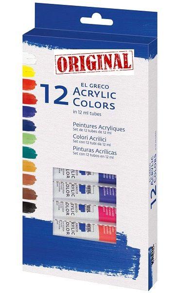 EL GRECO ART ACRYLIC 12 x 12ml - Фини акрилни бои 12цв