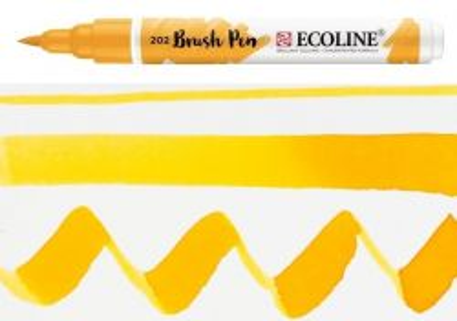 ECOLINE BRUSH PEN  - Дизайнерски маркер ЧЕТКА  - 202 DEEP YELLOW