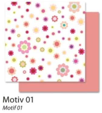 FB Flowers 01 - Дизайнерски картон с ембос-глитер елементи - 30,5 Х 30,5 см.