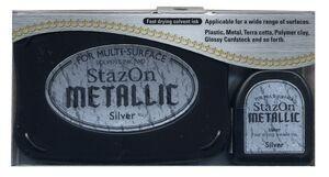StazOn - тампон + мастило за всякаква твърда или гланцирана повърхност - плътно Сребро