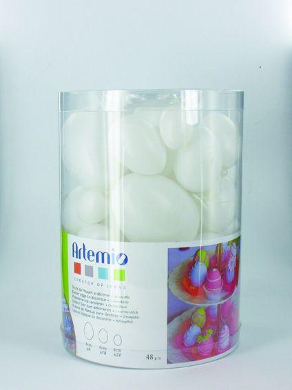ARTEMIO - Комплект пластмасови бели яйца със закачалка - 48 бр. микс 4-8 см