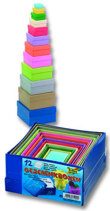 CARDBOX SQUARE COLOR - Комплект 12 кутии за декориране Folia,Germany