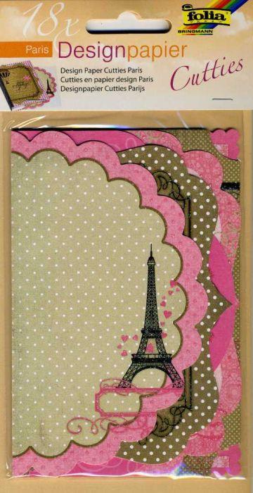 FOLIA Cutties - 18бр дизайнeрски единични КАРТИЧКИ -елементи с брокат 10 x15