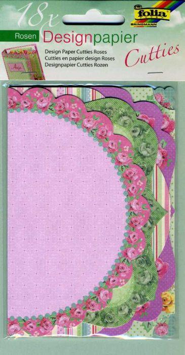 FOLIA Cutties - 18бр дизайнeрски единични КАРТИЧКИ - елементи с брокат 10 x15