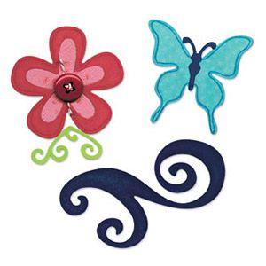 Karen Burniston - Butterfly, Flower & Swirl Set  - Щанци за рязане