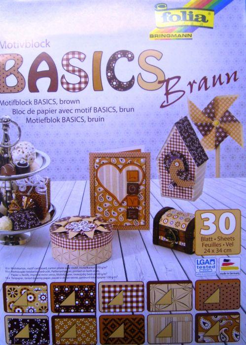 "FB "" BASICS BROWN"" PAD - Дизайнерски блок 34х24см / 30 листа"