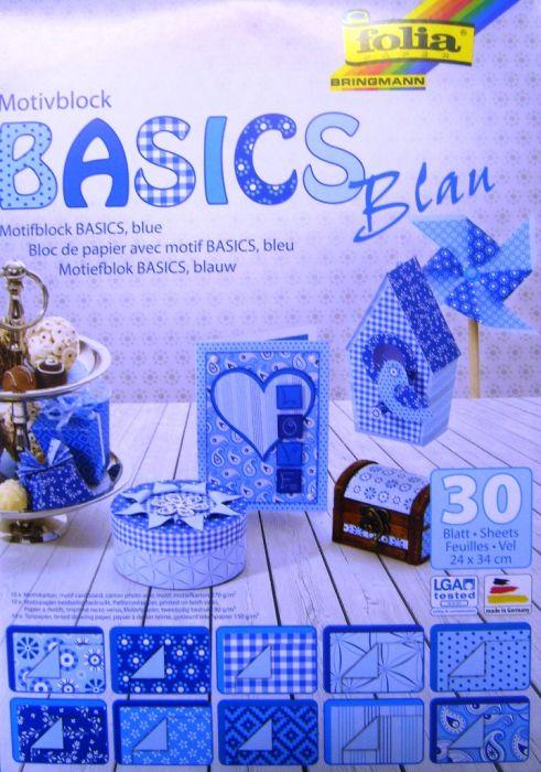 "FB ""BASICS BLUE"" PAD - Дизайнерски блок 34х24см  / 30листа"