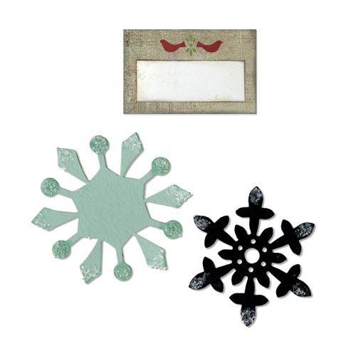 Bigz Die - w/Bonus Sizzlits Die - Snowflakes & Tag w/Birds - Щанци за рязане
