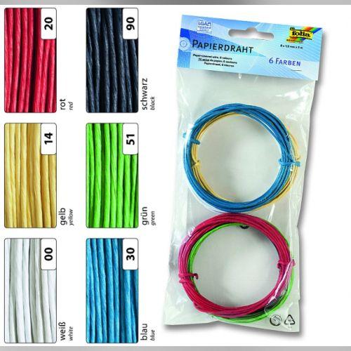 FOLIA - Деко алуминиева тел с хартиено цветно покритие - 1.5мм Х 3м. х 6 цвята пакет